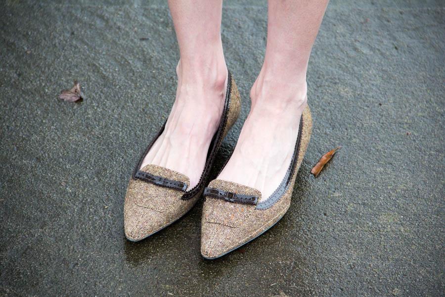 brown tweed kitten heels