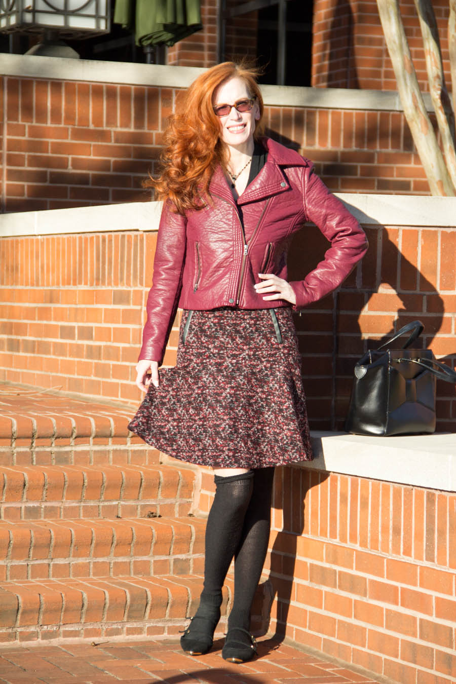 Maroon Leather Jacket With Flirty Skirt Elegantly