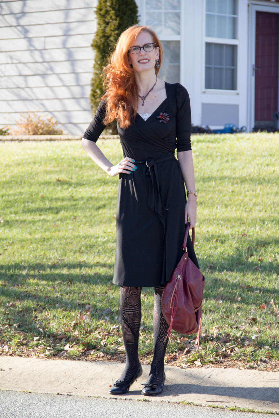 Karina black wrap dress