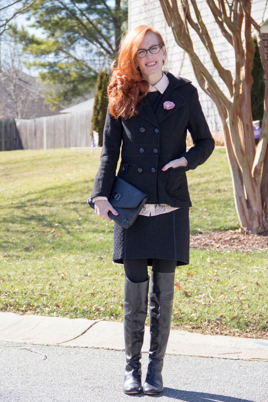 leather, Ann Taylor pink lace top, tweed, peacoat