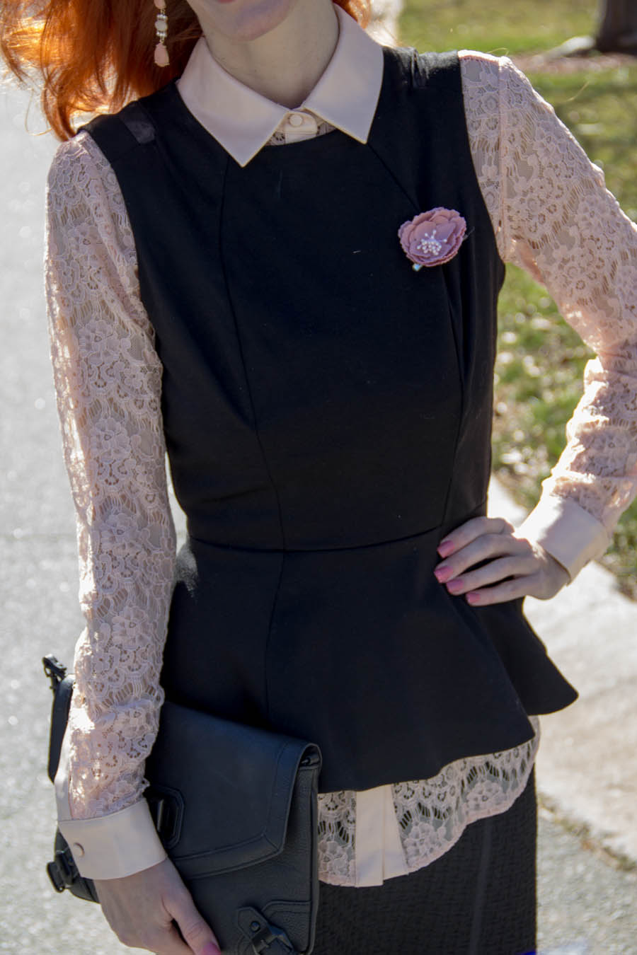 leather, Ann Taylor pink lace top, tweed