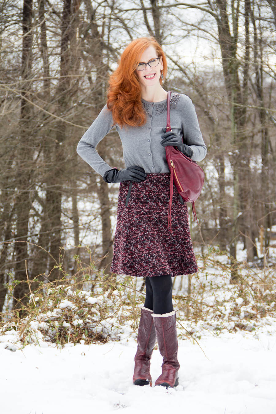 Tweed, Embellished sweater and cozy Born boots