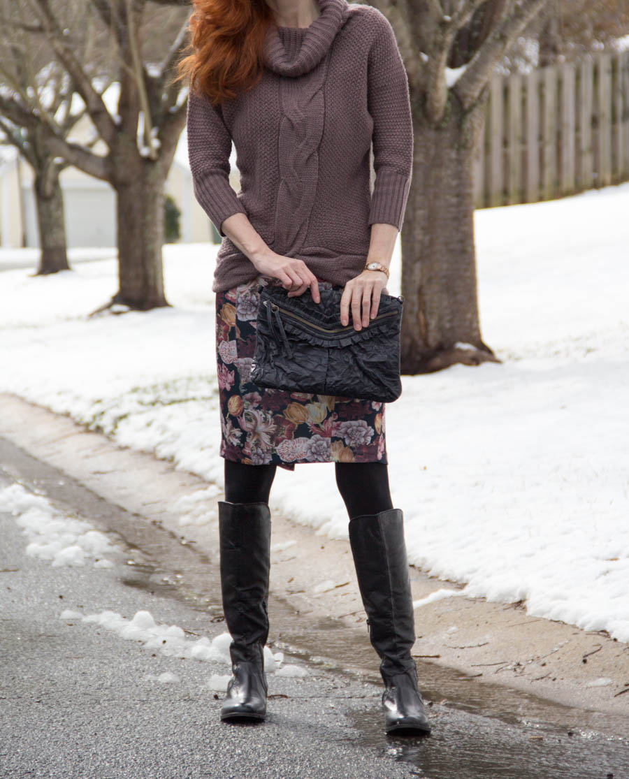 Dolman sweater, floral ASOS dress