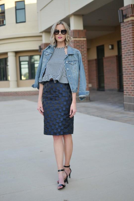 gingham-top-polka-dot-skit-jean-jacket-black-heeled-sandals