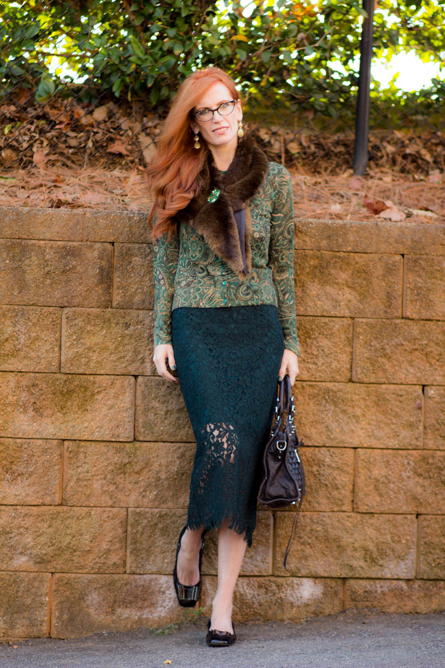 Turning Heads Linkup A Holiday Look With Lace Fur