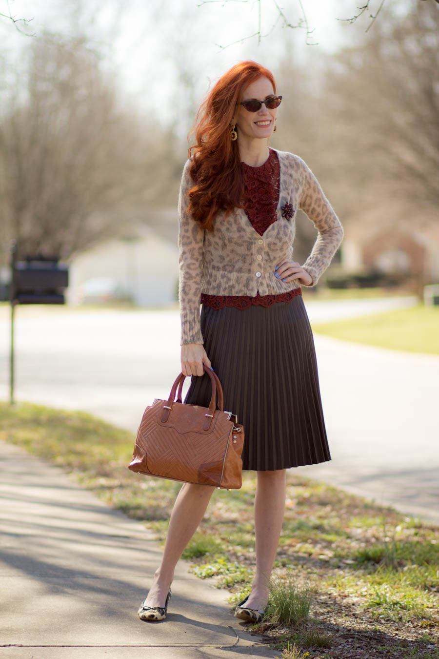 b6faf00719 Outfit Details: Cardigan: Banana Republic Mad Men Collection ( 3 yrs old),  Lace top: Zara, Brown Faux Leather skirt: ( Ann Taylor), Leopard Print  shoes: ...