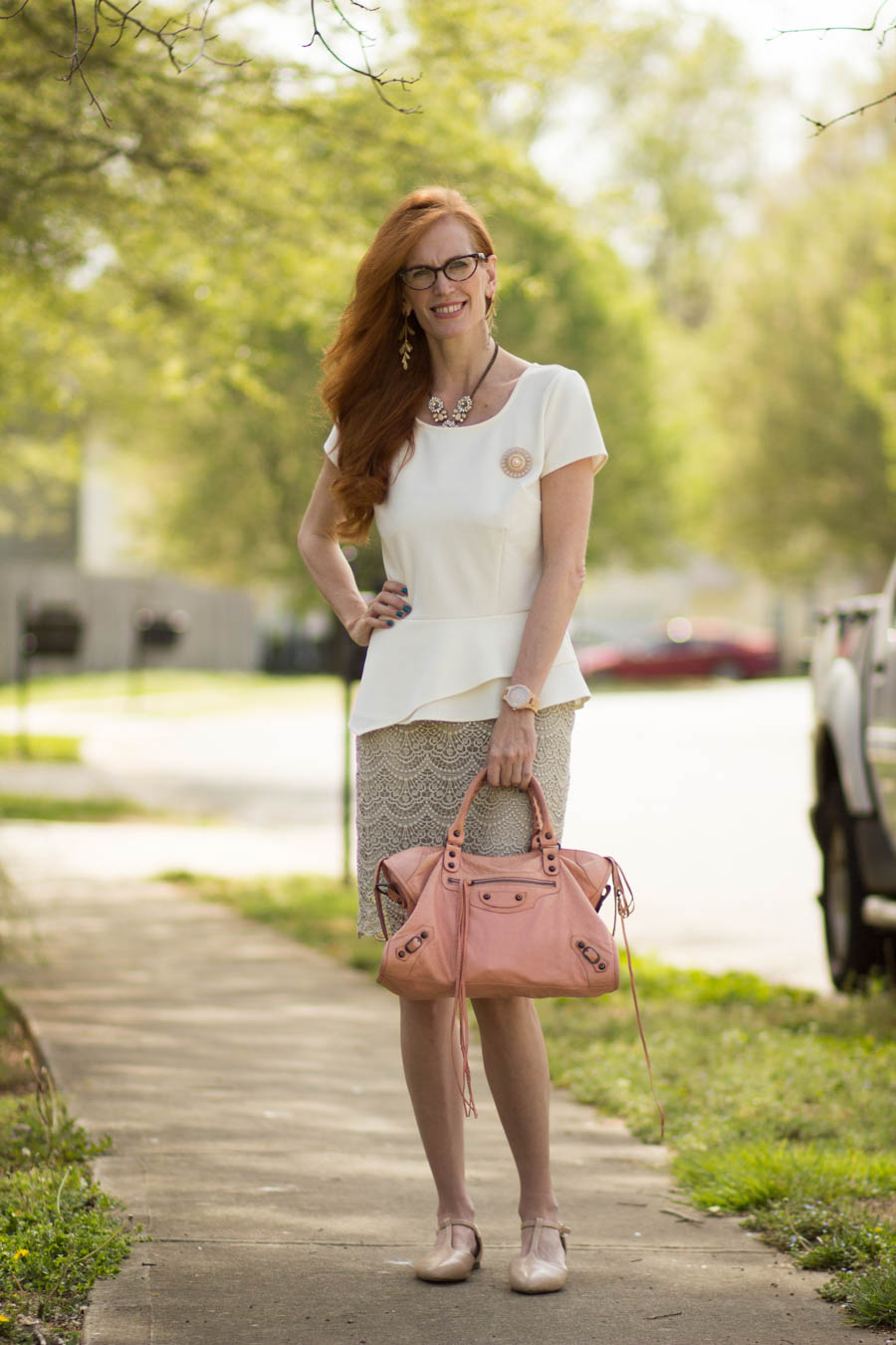 Turning Heads Linkup Jord Watch Review Neutral Look With Lace Peplum And A Pop Of Pale Pink Elegantly Dressed Stylish Fashion Over 50