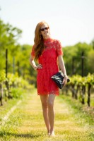 My Refined Style #8-Day at the Vineyard and Orange Shift Dress and My Mom's Genes