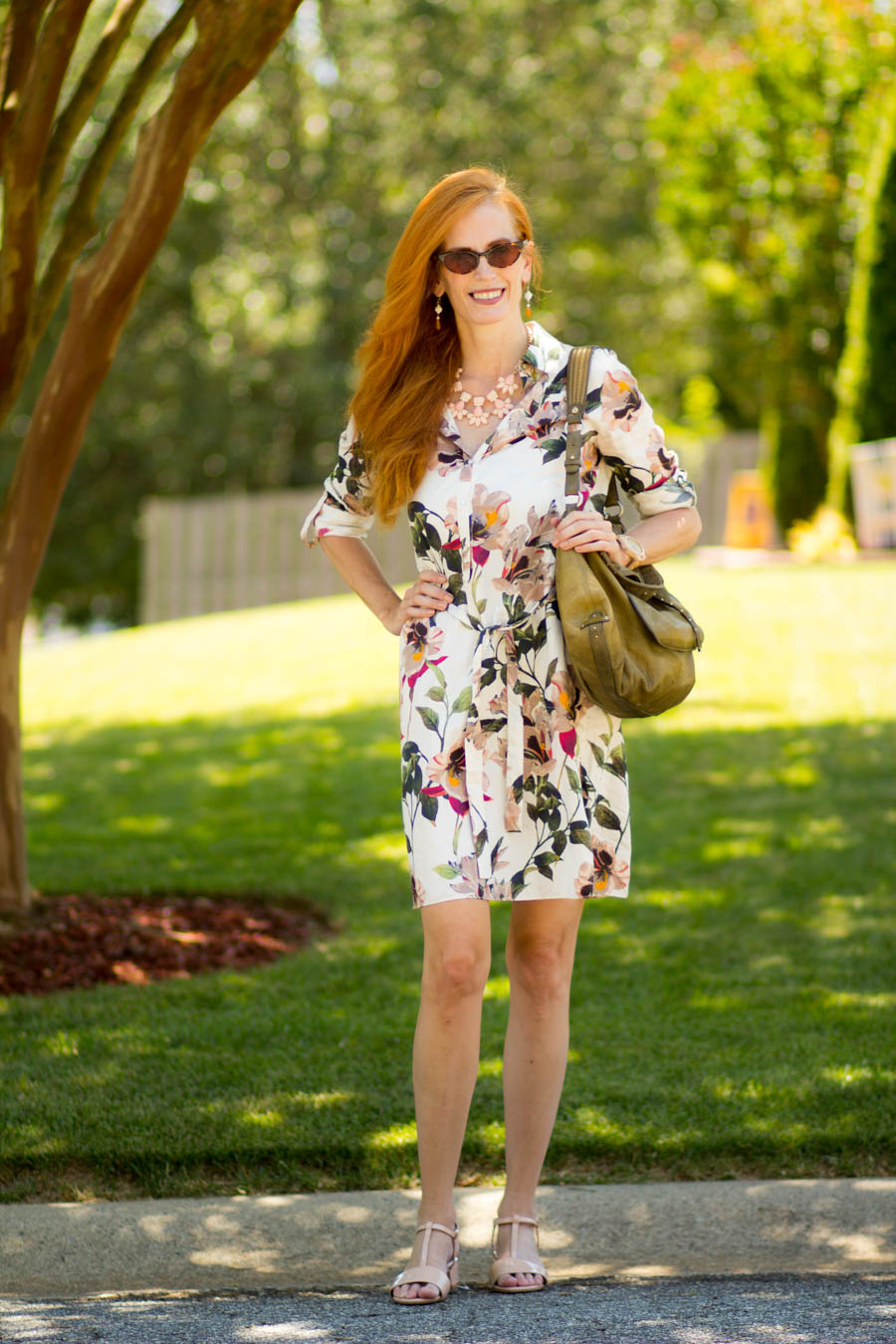 5ec02b6032 Turning Heads #Linkup Zara Floral Safari Shirtdress-Tips on Wearing the  Shirtdress - Elegantly Dressed and Stylish -Fashion Over 50