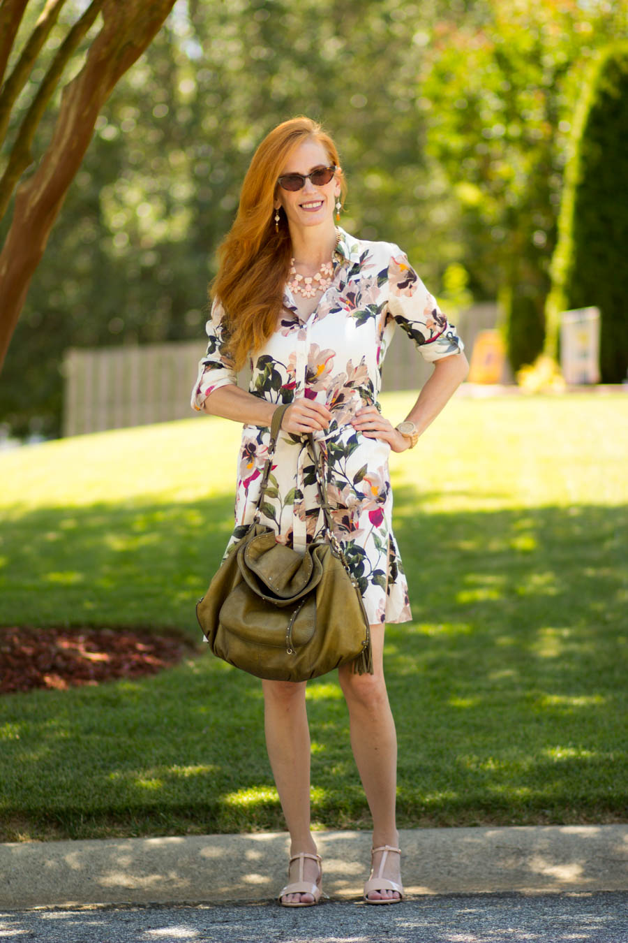 4ee8f1887 Turning Heads #Linkup Zara Floral Safari Shirtdress-Tips on Wearing ...
