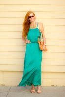 Zara Statement Floral Colorful Necklace and Emerald Maxi Dress