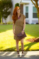 Turning Heads #Linkup: Styling a Khaki Safari Dress -Look 1.