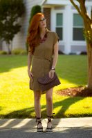 Turning Heads #Linkup-Look 2: The Khaki Shirtdress  + Sylca Designs Gold Jewelry