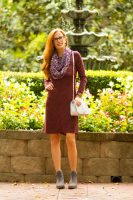 Collaboration with Aventura-Eco-friendly Clothing- Burgundy Dress Styled with Scarf