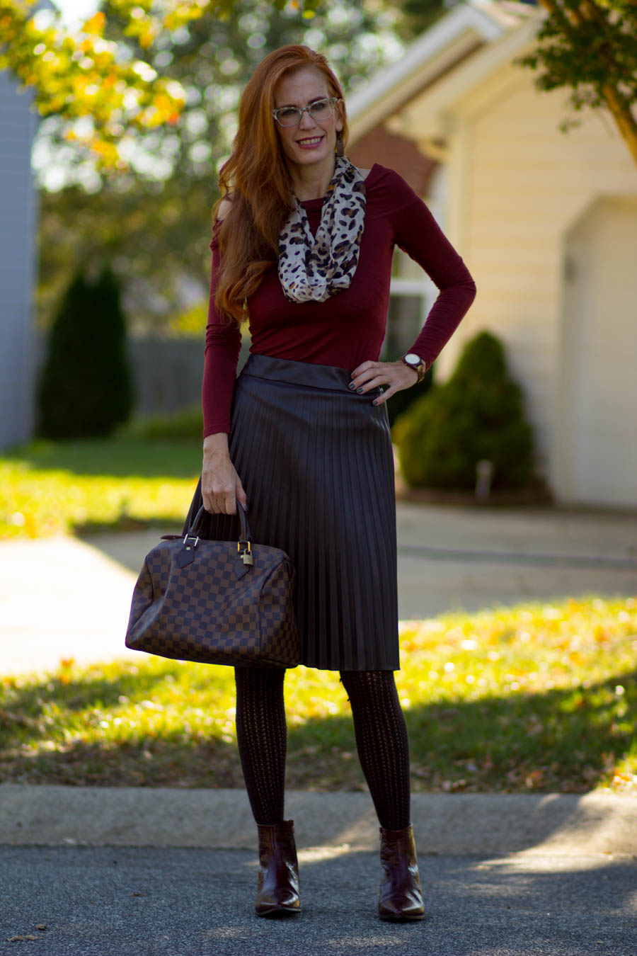 a009607d5 Turning Heads Linkup:Mixing Fall Colors/Rust top-Faux Leather Midi ...