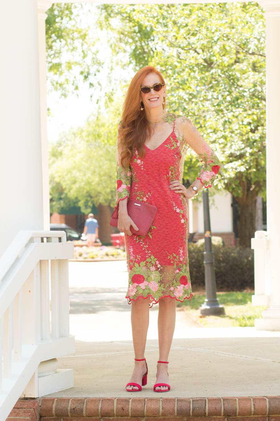 d146ce4d1963 I did like that the dress came with a red slip underneath to bring out the  color and that it wasn t tan. These strappy red block sandals were bought  at ...
