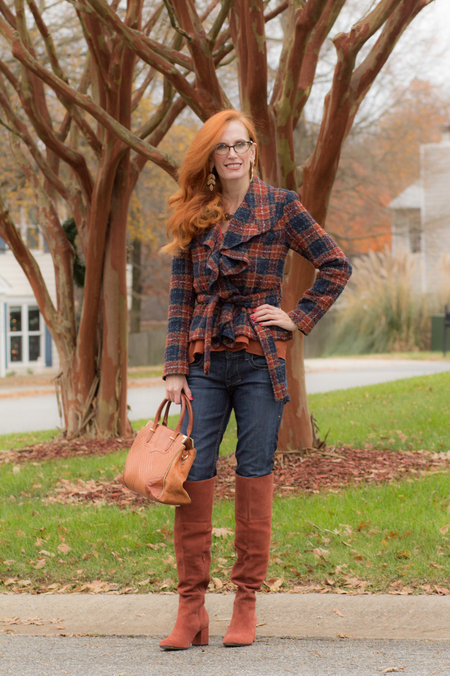 85e52caeaf3 Plaid Blazer + Wearing Over the Knee Boots Over 40 - Elegantly ...