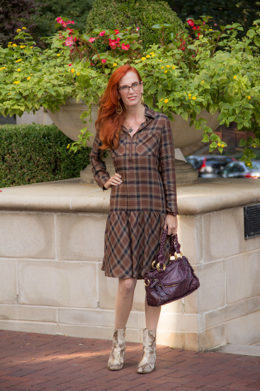 5b19d874a4a Turning Heads Linkup -Soft Surroundings – Fall Collection- Plaid Dress and  Snakeskin Boots