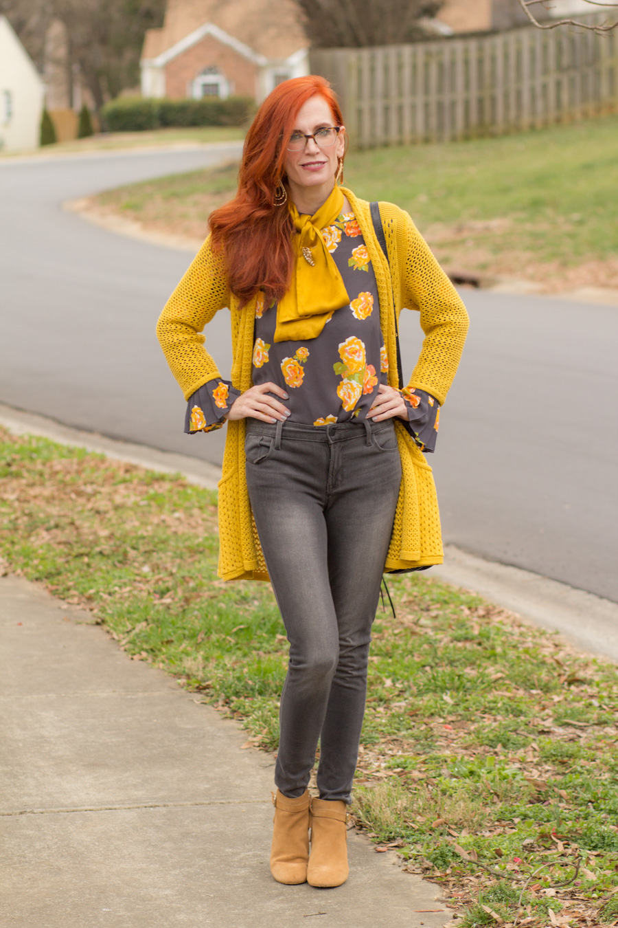 Wearing Mustard And Grey In The Winter Elegantly Dressed And