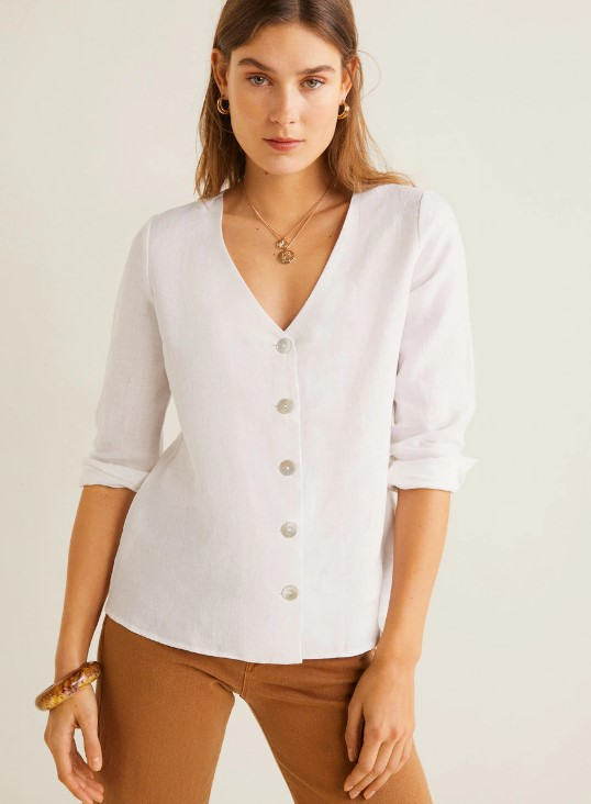 I love a classic white linen top with mother of pearl buttons like this one. be0c169f2