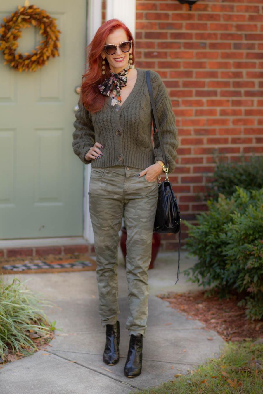 Camo pants and chunky sweater