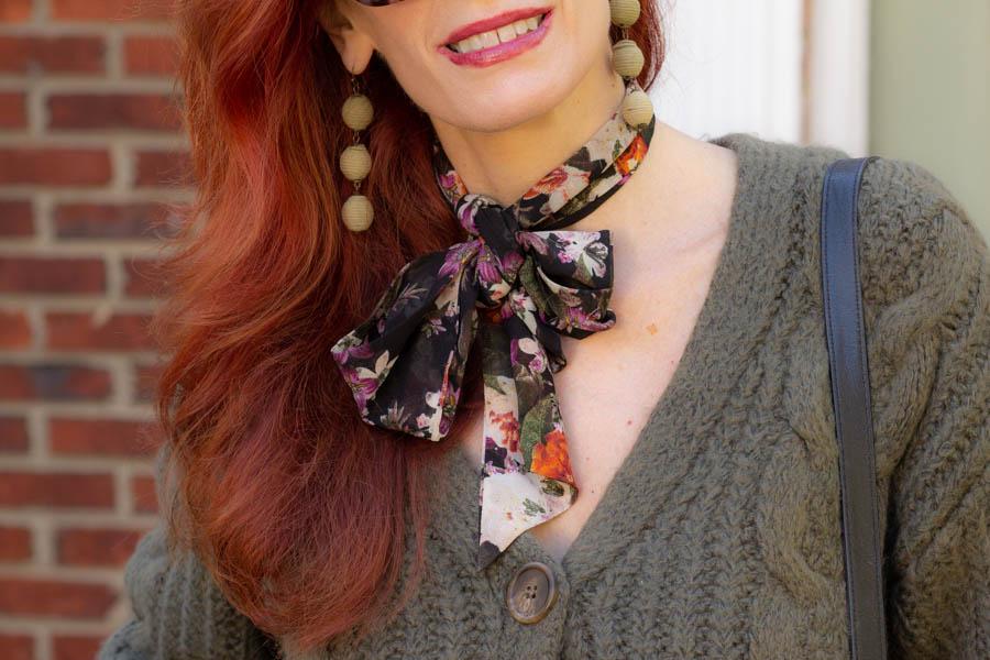 floral women's neck scarf
