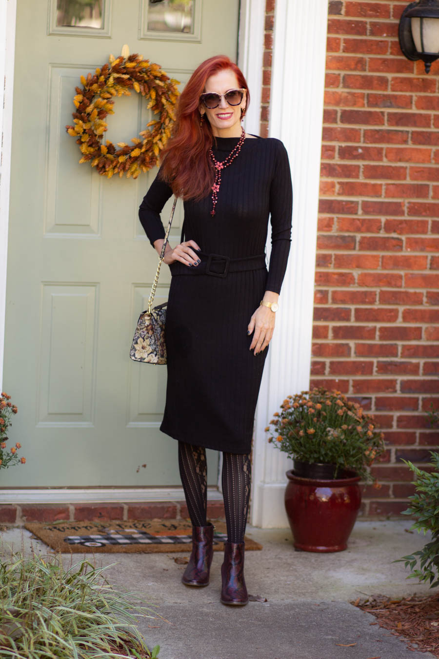 women's black sweater dress