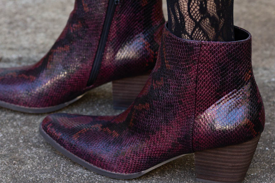 Leather snake skin booties