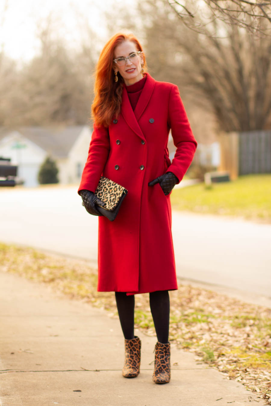 Women's red wool double breasted coat