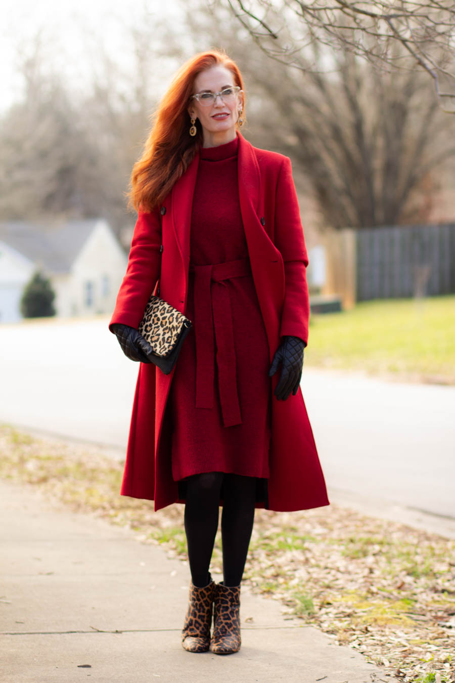 Red look with sweater dress and women's red wool coat