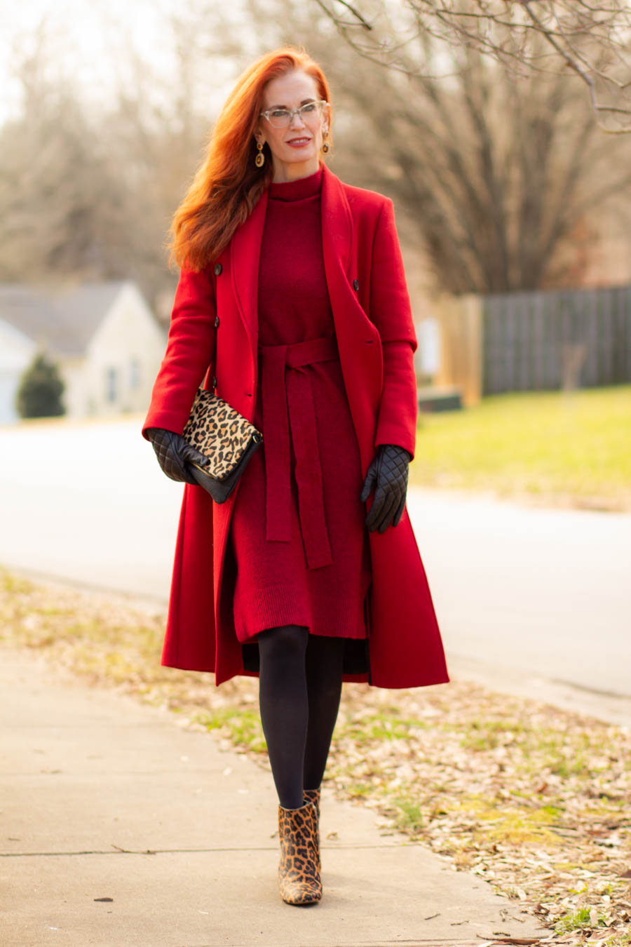 Monochromatic red look with red wool coat