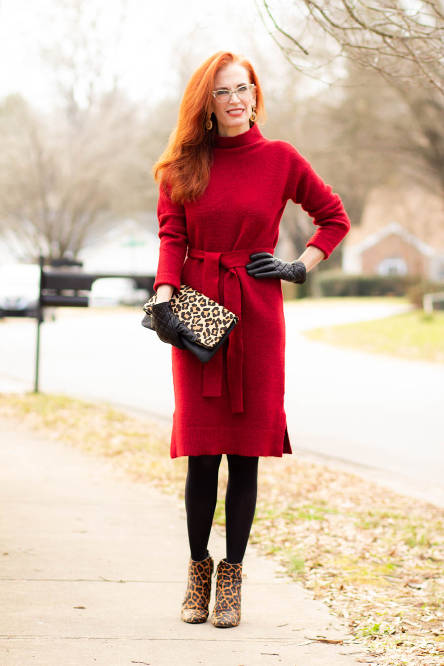 Women's red sweater dress with leopard booties