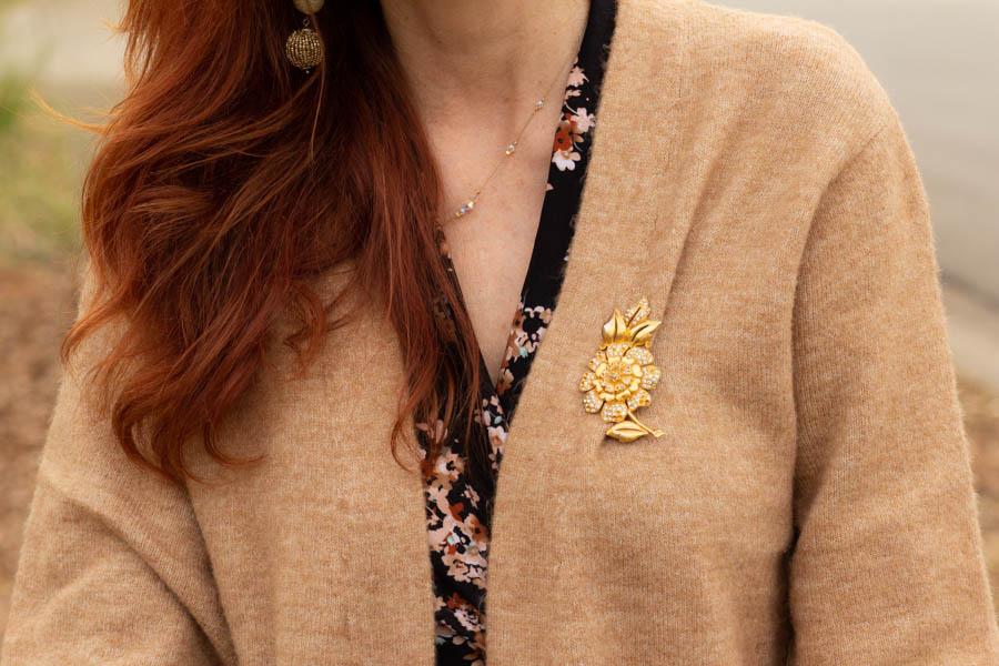 Dark floral worn with neutral cardigan