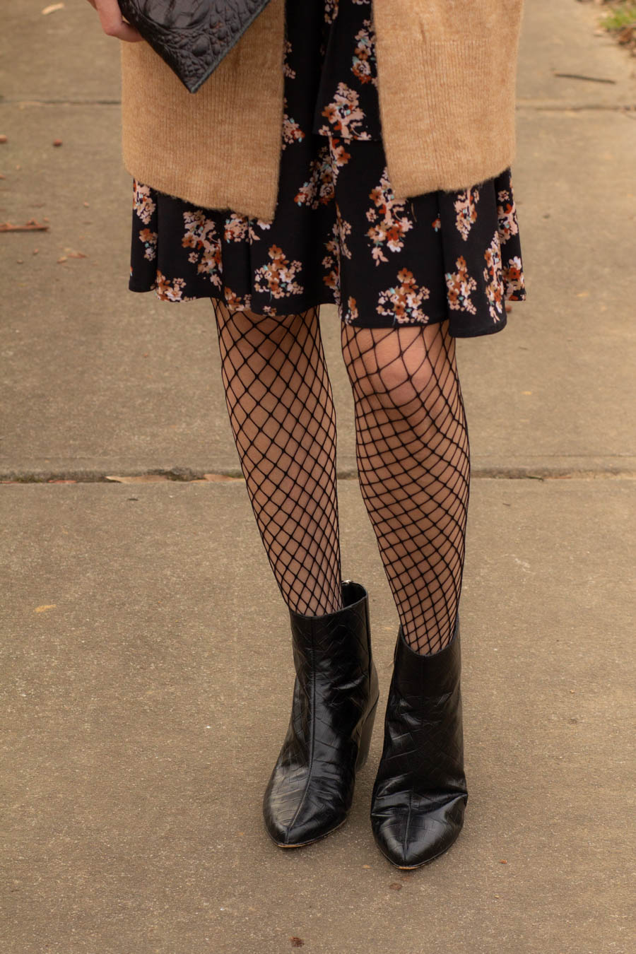 Dark floral with fish net stockings