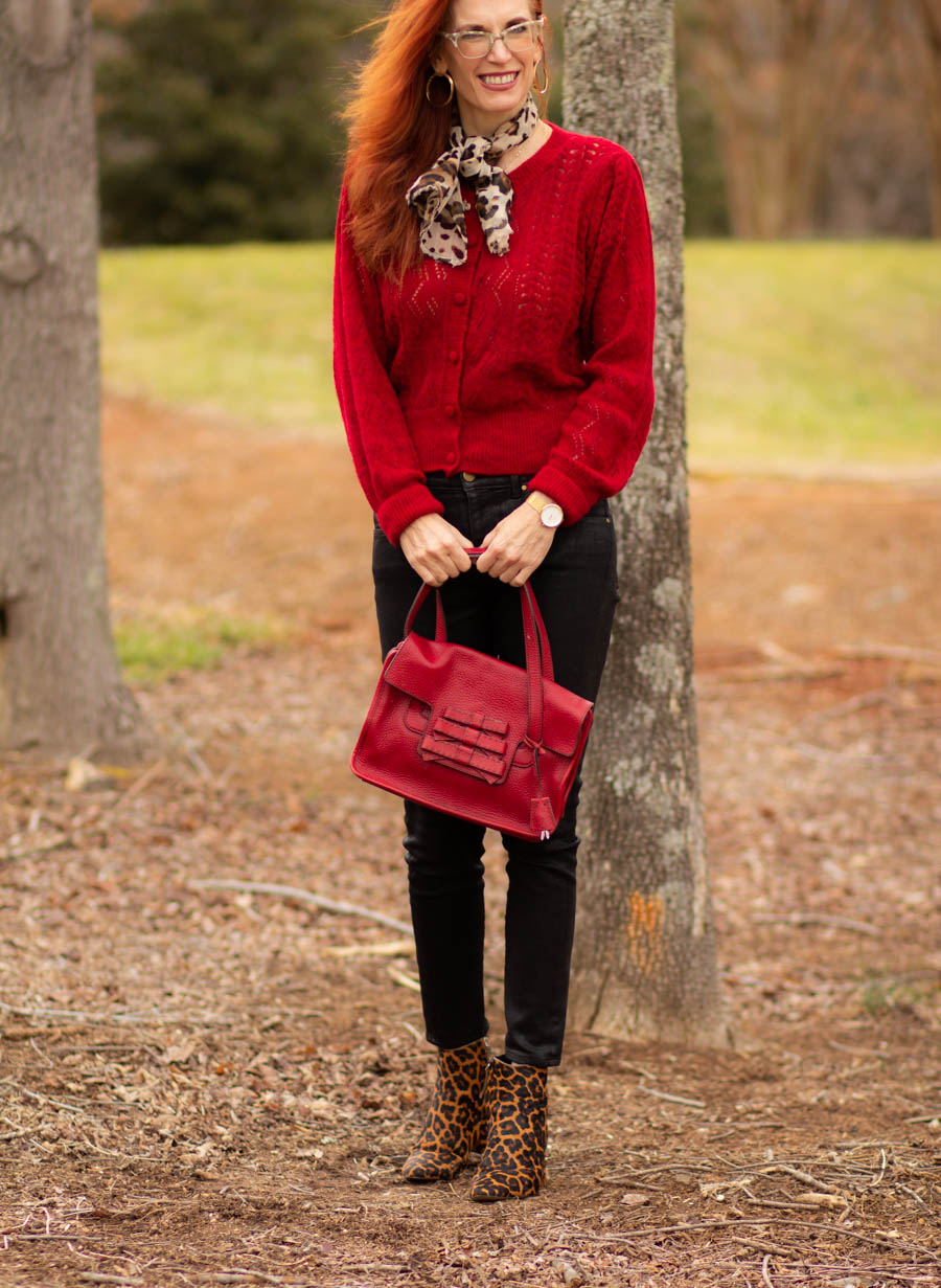 WOmen's red outfit for heart healthy month