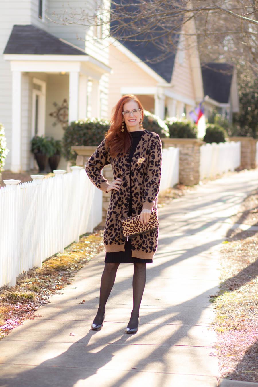 Leopard cardigan over knit black dress