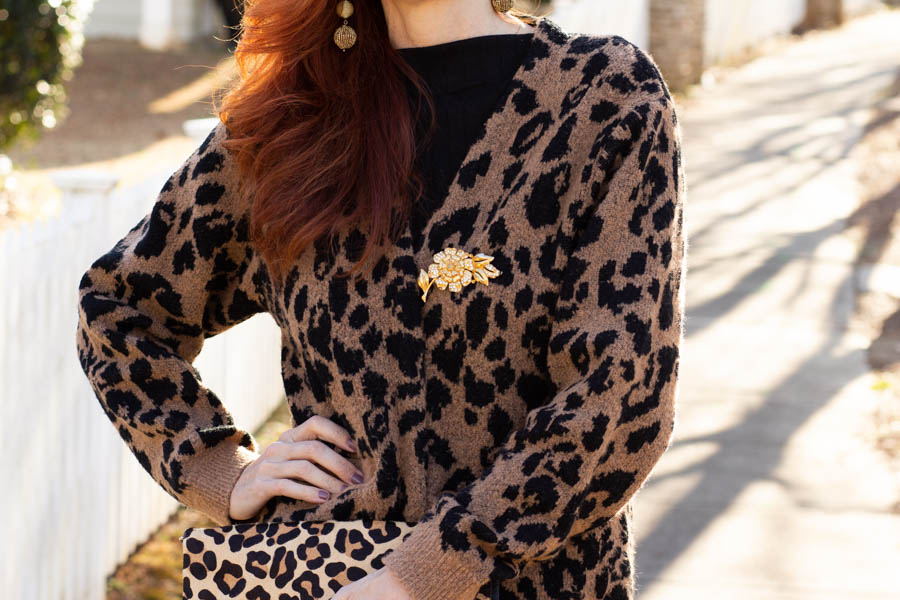 Leopard cardigan over knit dress