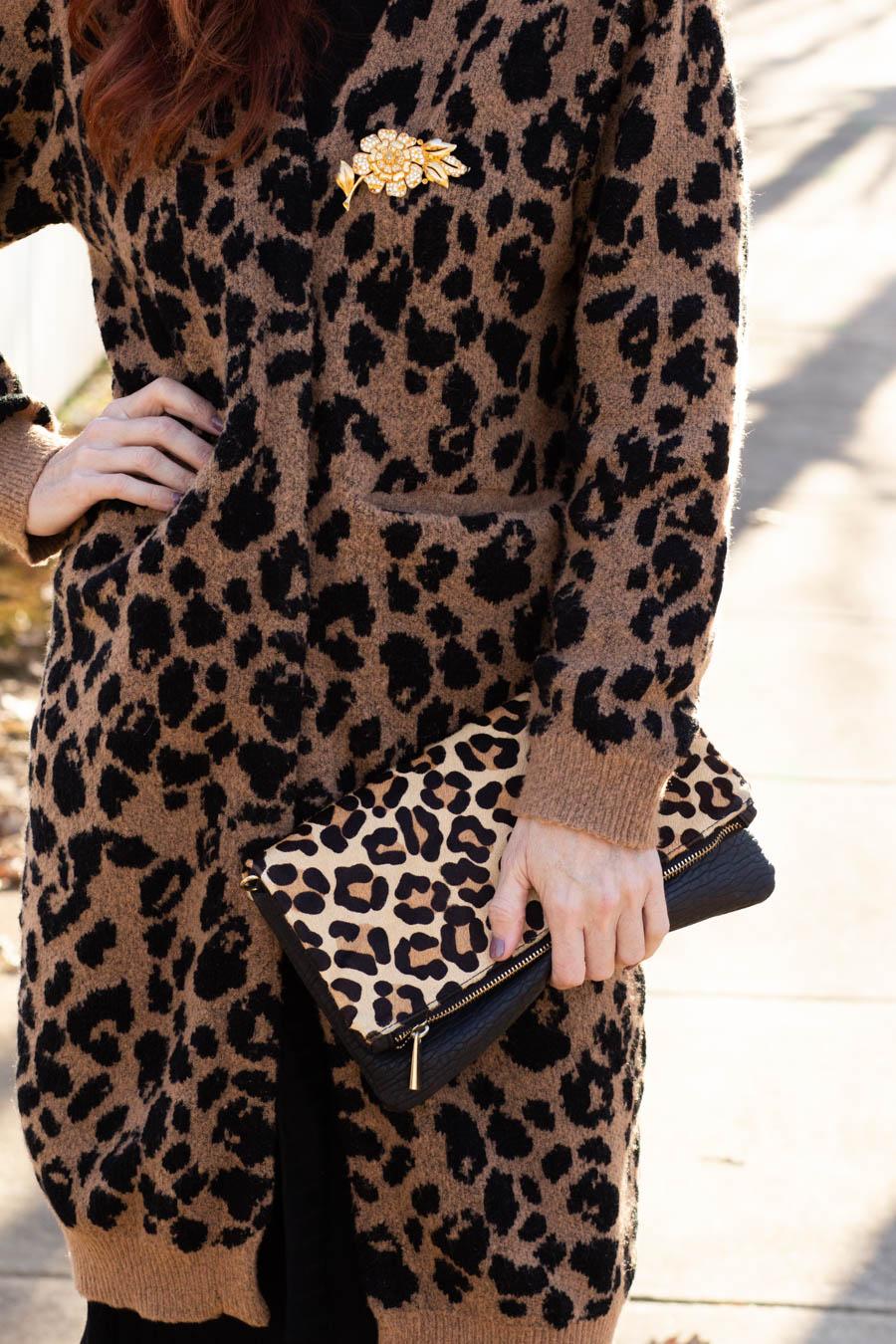 Leopard cardigan over dress