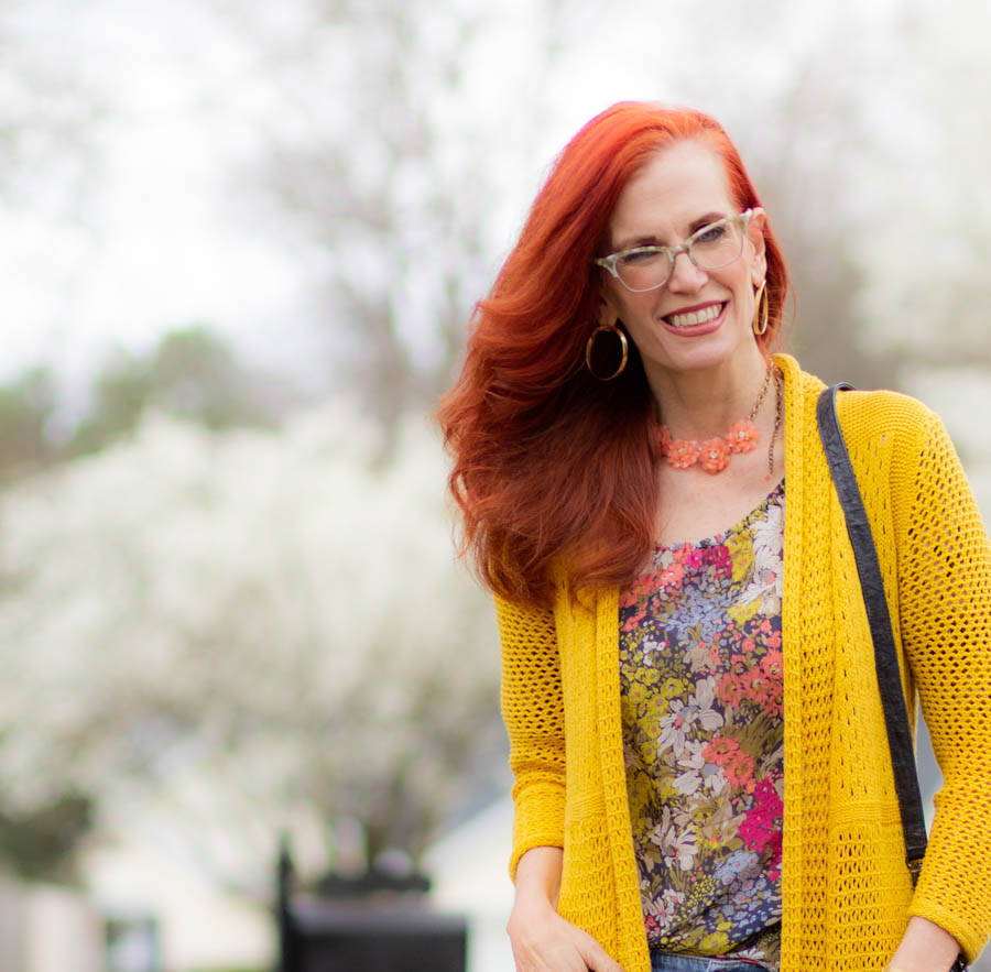 Spring floral top with yellow cardigan