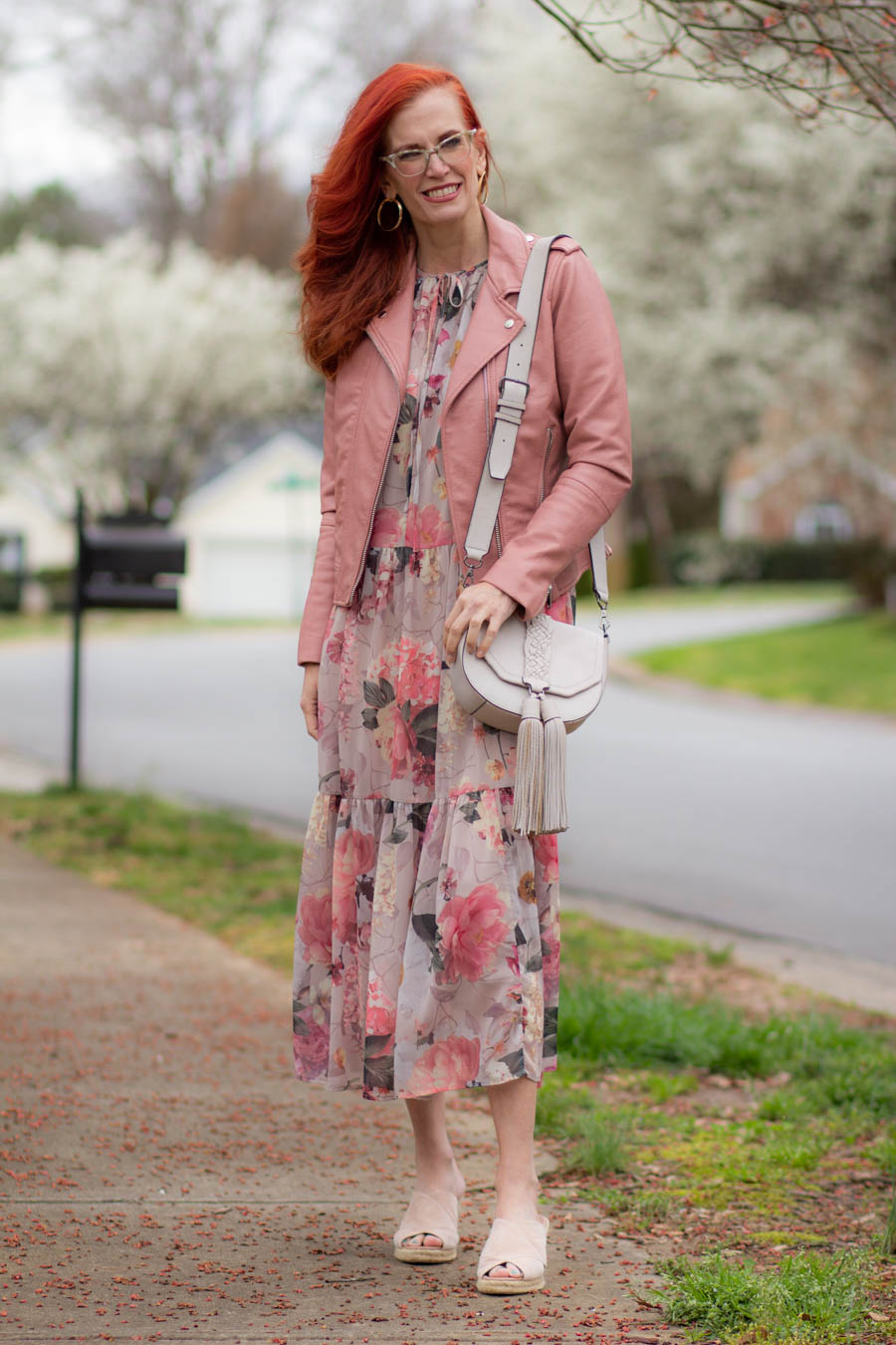Pink floral midi dress with pink moto jacket