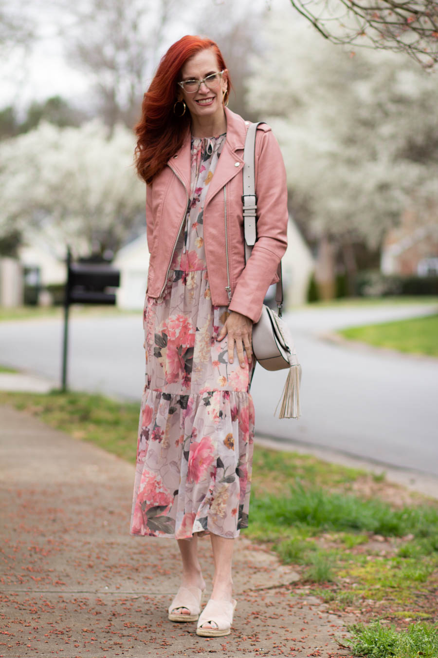 Floral midi dress with pink moto jacket