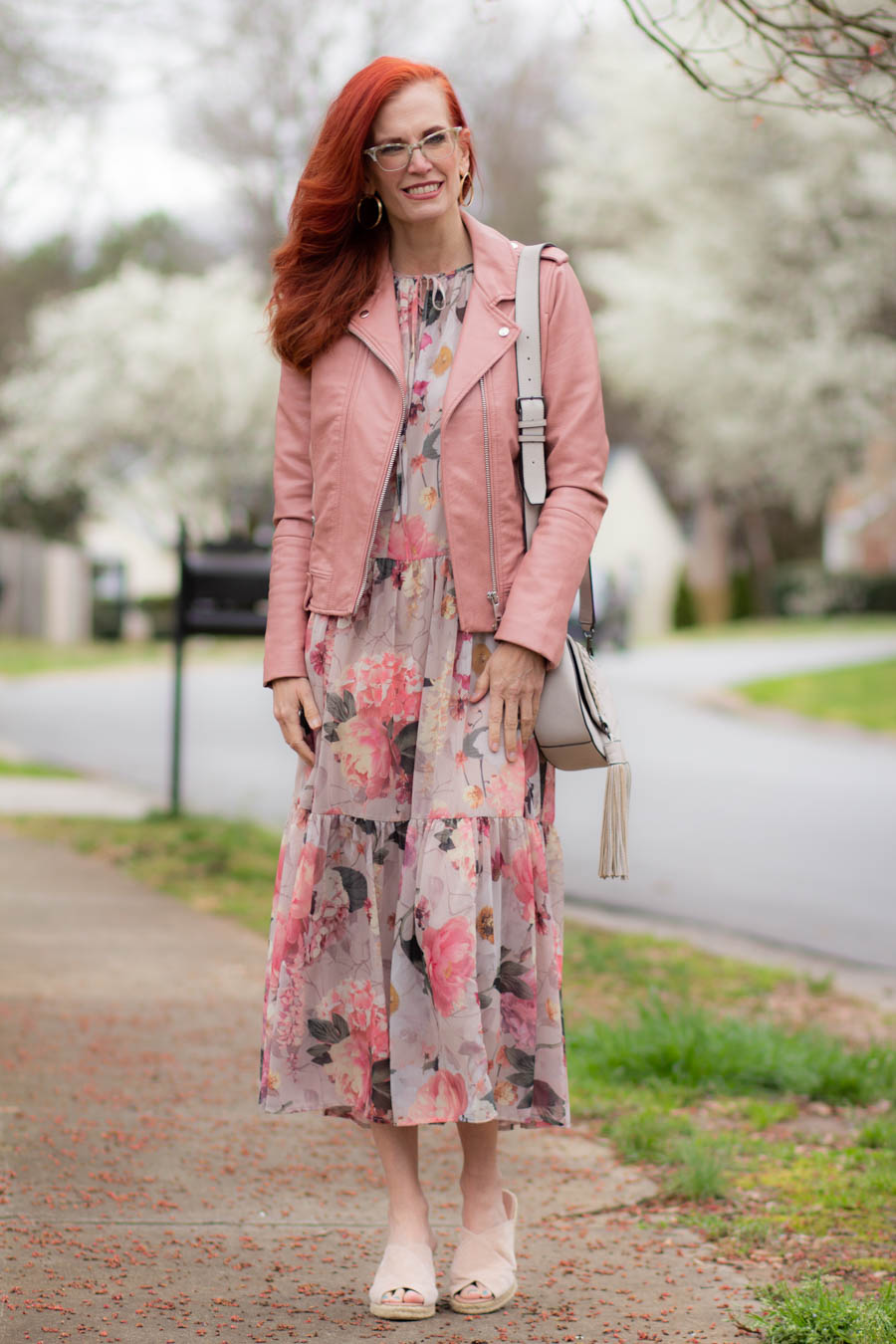 H&M floral midi dress with pink moto