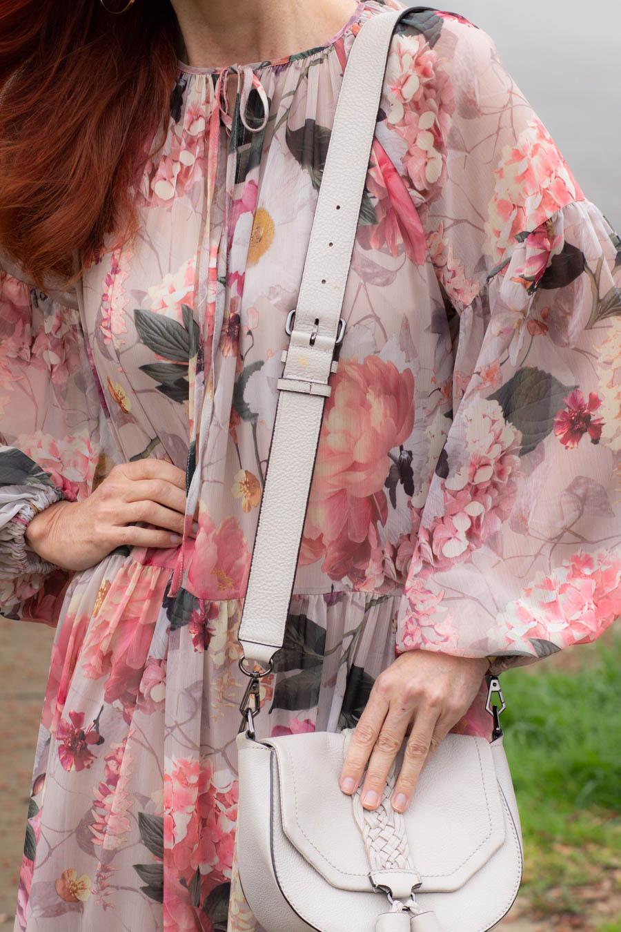 Pink midi dress with saddle bag