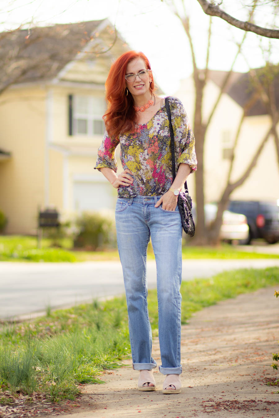 Spring floral dress and light jeans