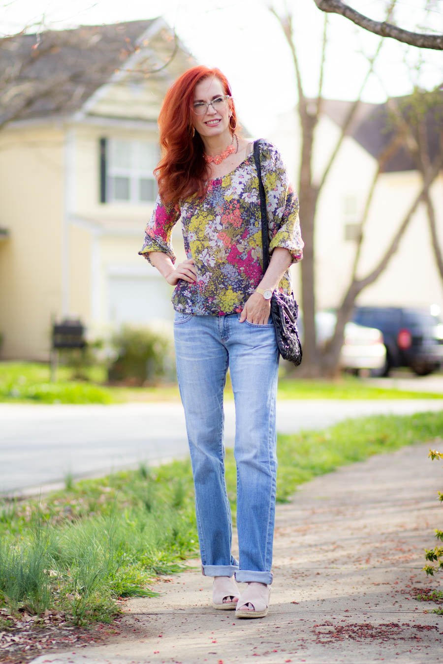 Spring floral top and light jeans