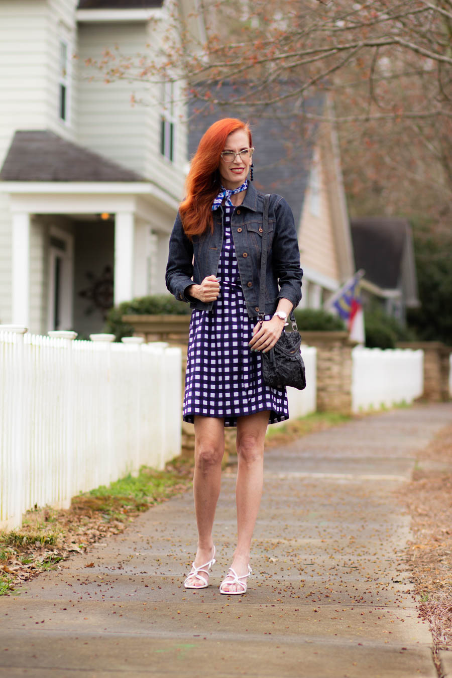 Gingham print dress with white watch