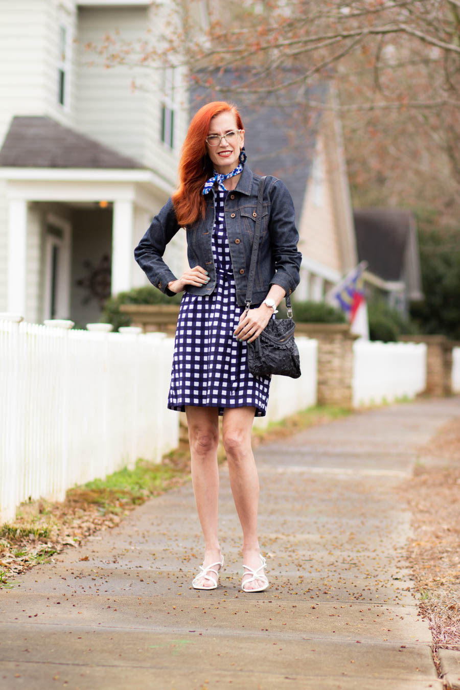 Gingham print dress with jean jacket