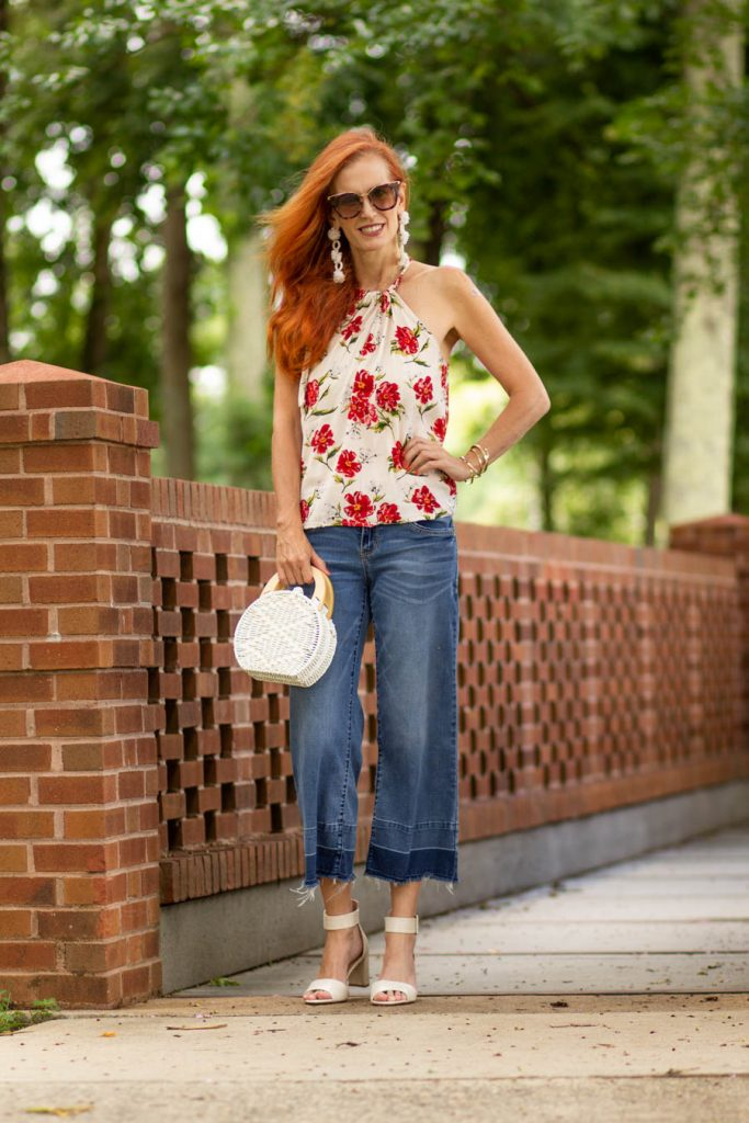 Halter top with wide leg jeans