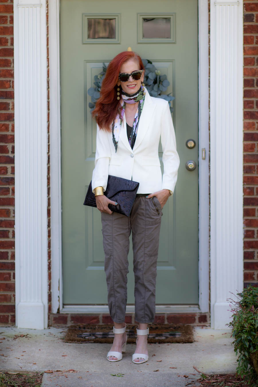White blazer with cargo pants