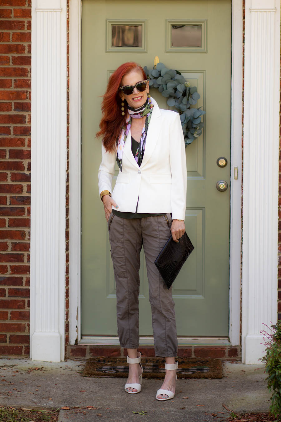 White blazer with olive green cargos